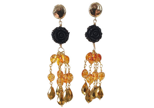CLASSIC COLLECTION Gold black earrings