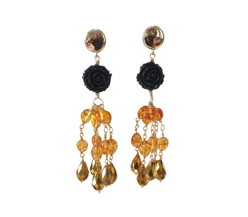 Earrings with Resin and Crystal