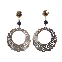 Earrings with Bras, Onyx and Mother of Pearl