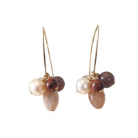 Earrings with Moonstone, Pearl, Rose Quartz, Tiger Eye and Aventurine