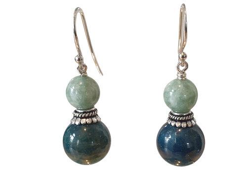 CLASSIC COLLECTION Blauw, Zilveren Oorbel