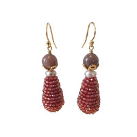 Earrings with Aventurine, Pearl and Icicle with Garnet