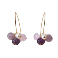 Earrings with Amethyst, Opalite, Pearl, Chalcedony and Amerhist Quartz