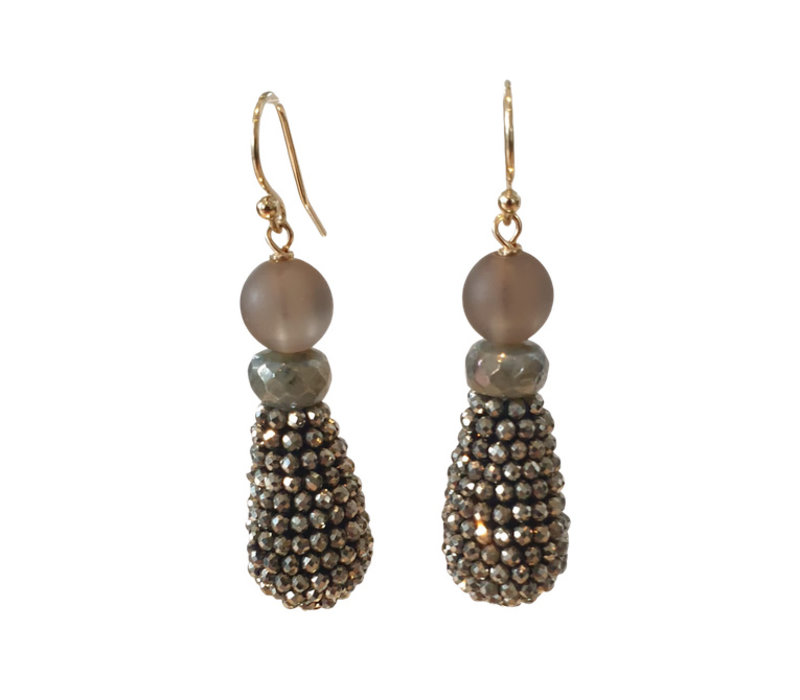 Earrings with Smoky Quartz, Labradorite and Pegel with Pyrite