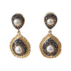 TREND COLLECTION Earrings with Bras, Pearl and Markasite