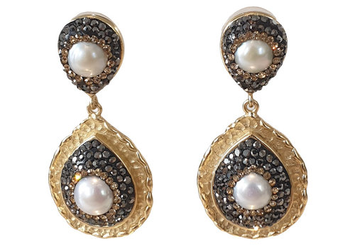TREND COLLECTION Gold, Black, White Glitter Earring