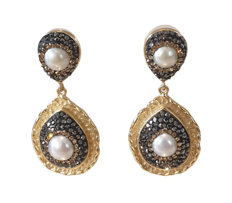Earrings with Bras, Pearl and Markasite