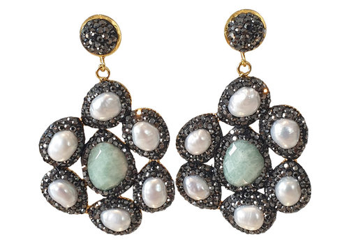TREND COLLECTION Black, White, Green Earring