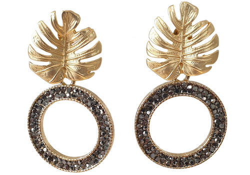 TREND COLLECTION Gold Black Glitter Earring Round