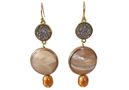 TREND COLLECTION Brown, Gray earring