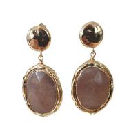 Earrings with Bras and Agate