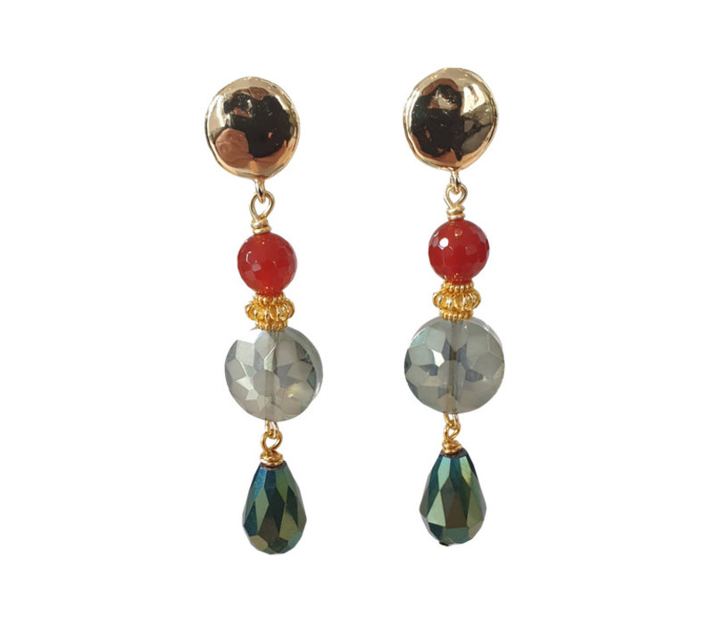 Earrings with Carnelian and Crystal with a Coating