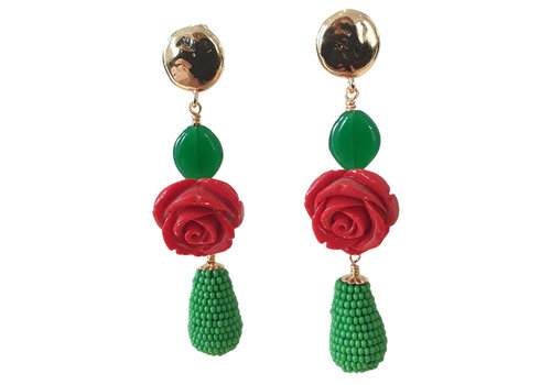 TREND COLLECTION Green, Red Earring