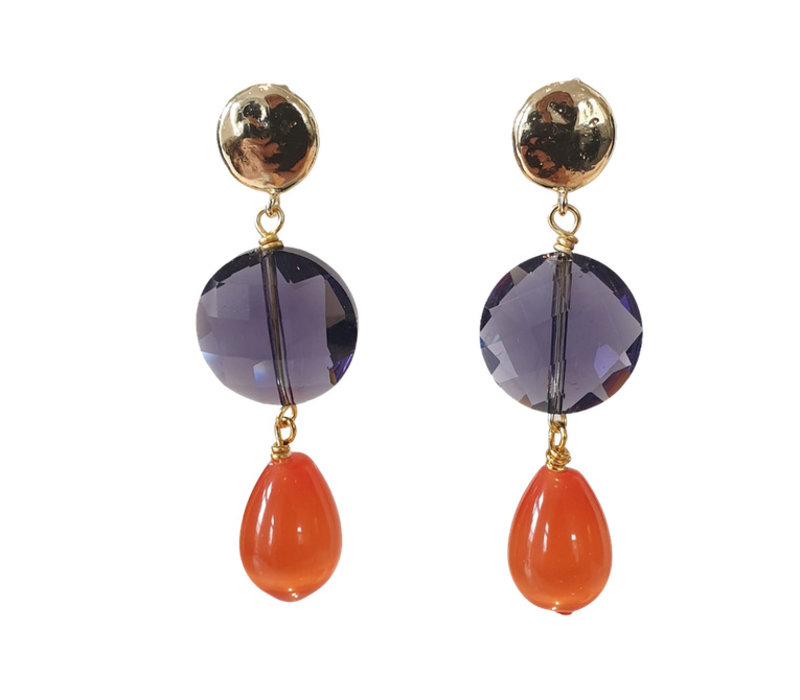 Earrings with Bras, Crystal with Coating and Cat's Eye