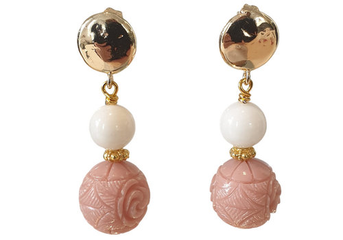 TREND COLLECTION Nude, White, Gold Earring