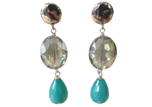TREND COLLECTION Green, Aqua, Silver Earring