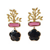 TREND COLLECTION Earrings with Bras, Cat's Eye and Crystal - gold, pink, black