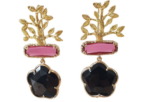 TREND COLLECTION Gold, Pink, Black Earring