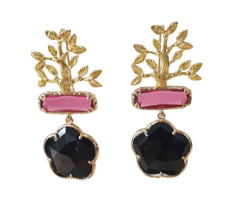 Oorbellen met Bras, Kattenoog en Kristal - goud, roze, zwart