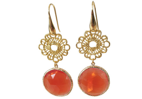 TREND COLLECTION Gold, Orange Earring