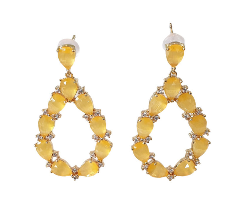 Earrings with Crystal and Cat's Eye