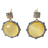 TREND COLLECTION Earrings with Cat's Eye and Crystal - yellow, blue