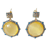 Earrings with Cat's Eye and Crystal - yellow, blue