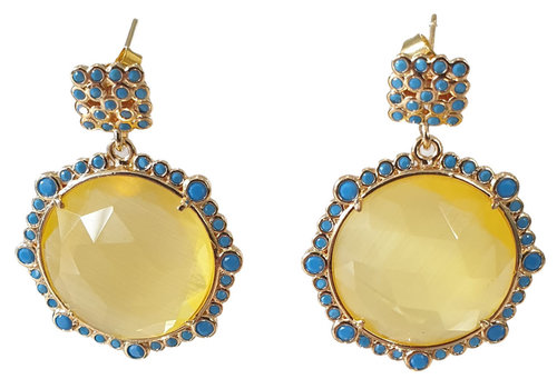 TREND COLLECTION Yellow, Blue Earring