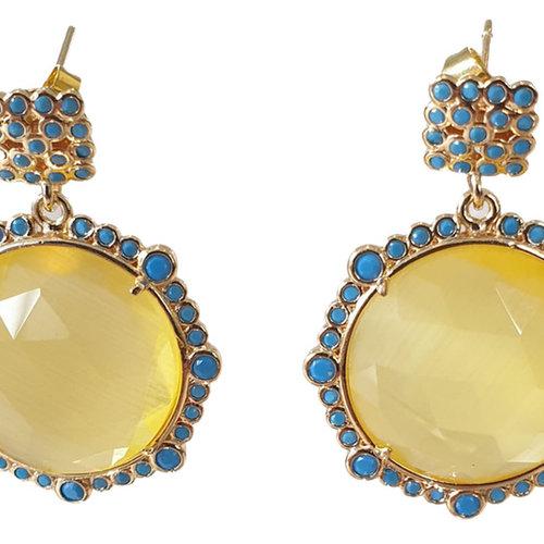Yellow, Blue Earring