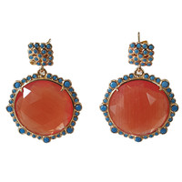 Earrings with cat's eye and crystal - blue orange