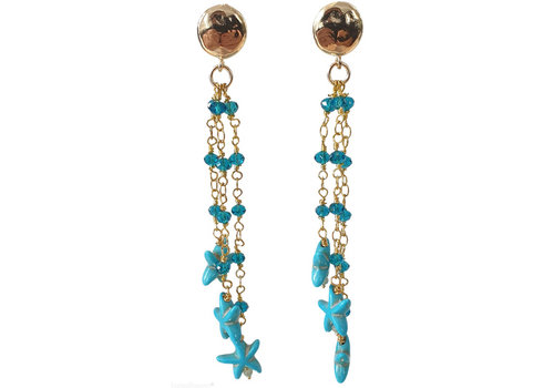 TREND COLLECTION Gold, Aqua Earring