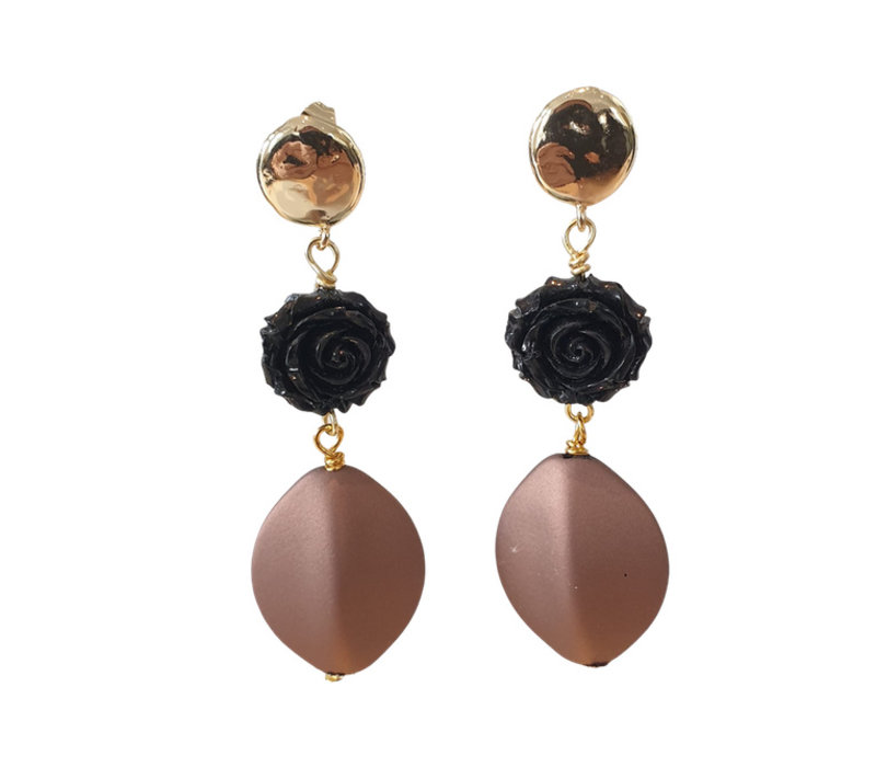 Earrings with Bras and Resin - black bronze