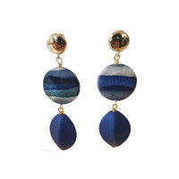 Earrings with Bras, Agate and Resin