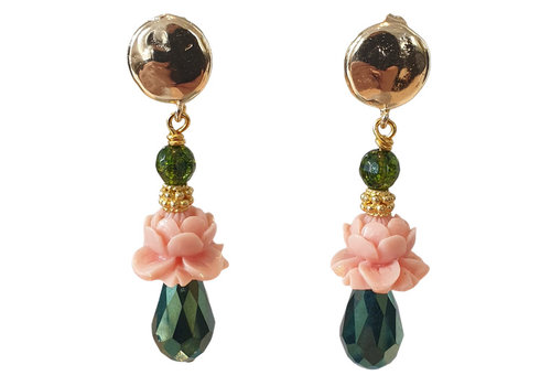 TREND COLLECTION Green, Pink Earrings