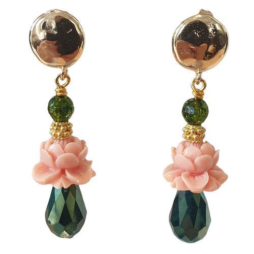 Green, Pink Earrings