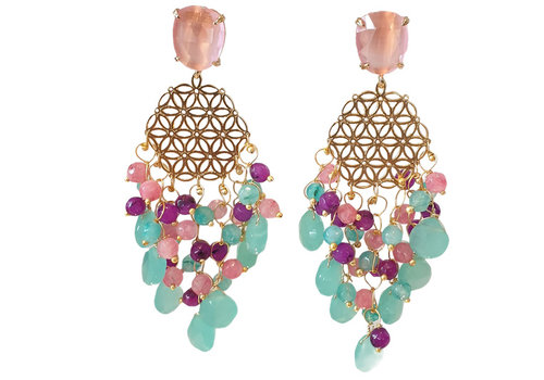 CLASSIC COLLECTION Multi Color and Gold Earrings - Copy
