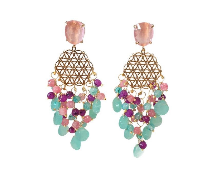 Earrings with various gemstones - Copy