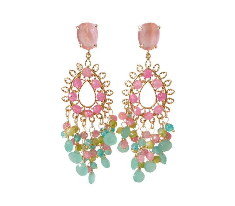 Earrings with various gemstones
