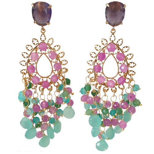 Multi Color and Gold Earrings