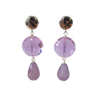 Earrings with Bras, Crystal with Coating and Agate