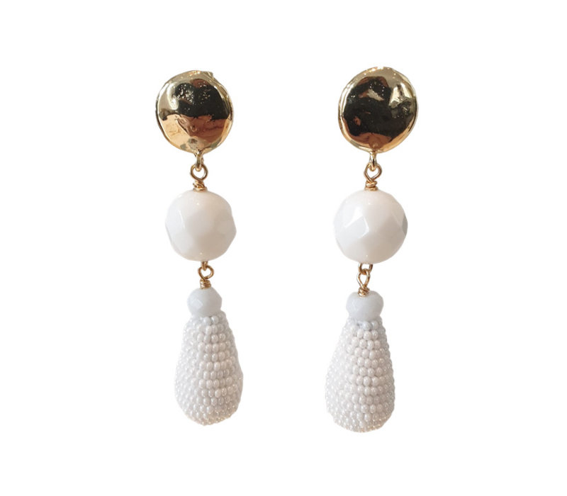Earrings with Agate and Icicle with Beads