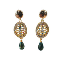 Earrings with Bras, Crystal and Crystal with Coating