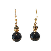 Earrings with Pyrite and Onyx