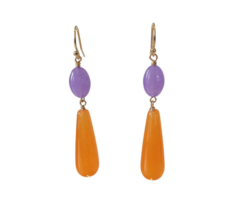 Earrings with Quartz and Agate