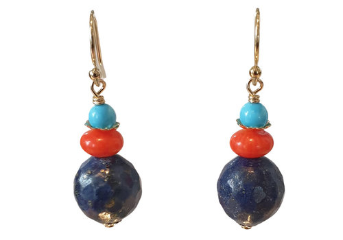 TREND COLLECTION Aqua, Coral and Dark Blue Earring