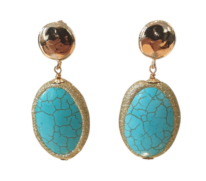 Earrings with Bras and Turqoise