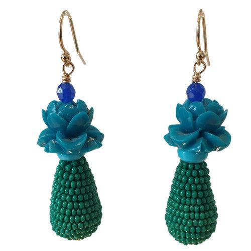 Blue, Green Earring
