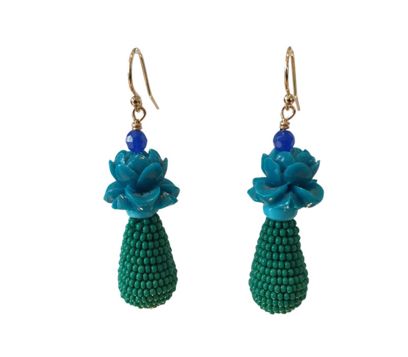 Earrings with Resin, Turqoise and Pegel with Beads