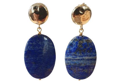 TREND COLLECTION Goud, Blauwe Oorbel