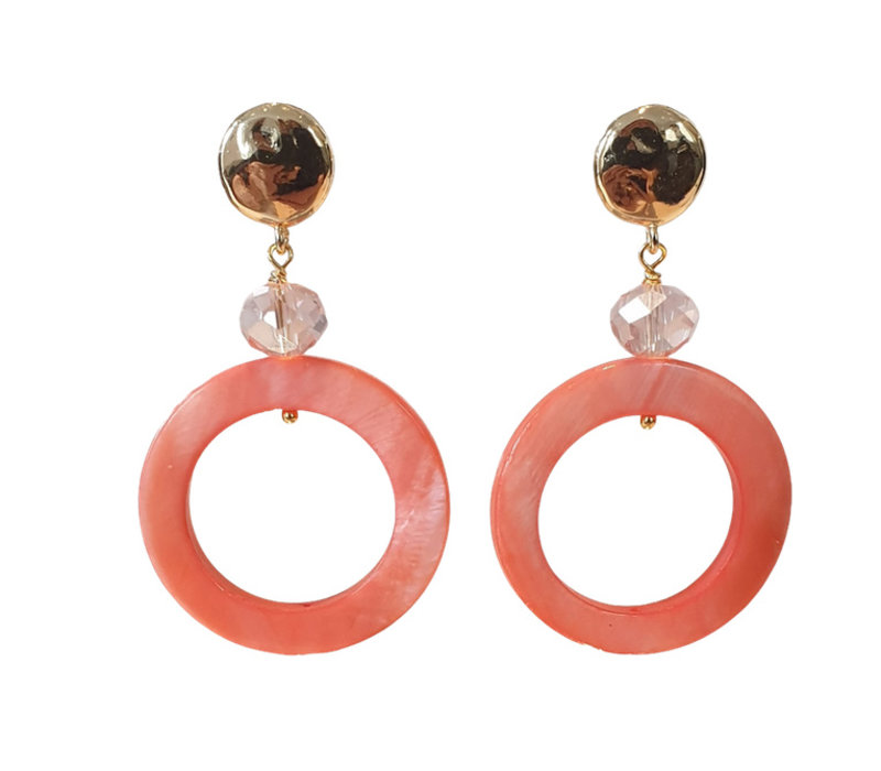 Earrings with Bras, Crystal and Mother of Pearl - pink